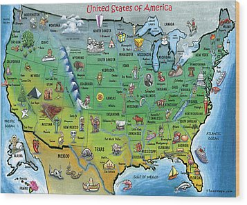 Usa Cartoon Map Wood Print by Kevin Middleton