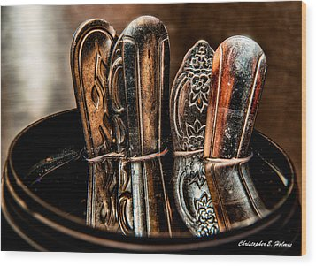 Utensils Reflected Wood Print by Christopher Holmes