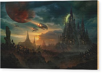 Utherworlds Sosheskaz Falls Wood Print by Philip Straub