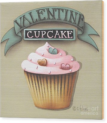 Valentine Cupcake Small Wood Print by Catherine Holman