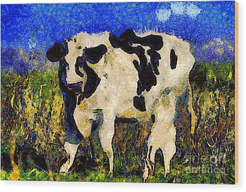 Van Gogh.s Big Bull . 7d12437 Wood Print by Wingsdomain Art and Photography