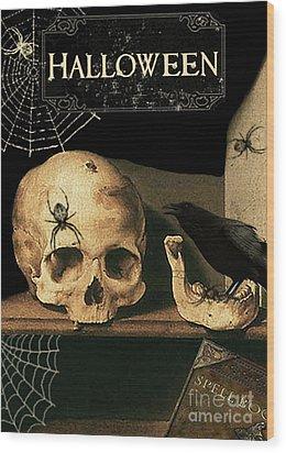 Vanitas Skull And Raven Wood Print by Striped Stockings Studio