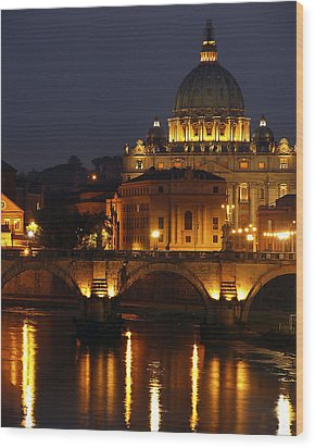 Vatican At Night Wood Print by Don Wolf