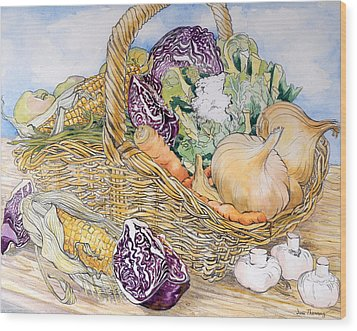 Vegetables In A Basket Wood Print by Joan Thewsey