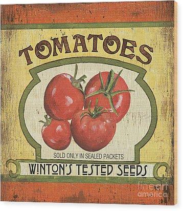 Veggie Seed Pack 3 Wood Print by Debbie DeWitt