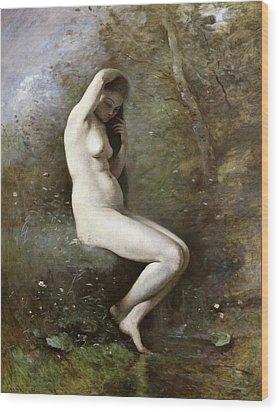 Venus Bathing Wood Print by Jean Baptiste Camille Corot