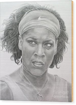 Venus Williams Wood Print by Blackwater Studio
