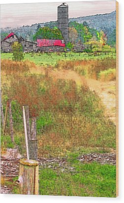 Vermont Farmland 3 Wood Print by Steve Ohlsen