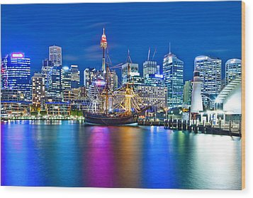 Vibrant Darling Harbour Wood Print by Az Jackson