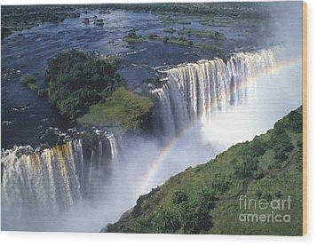 Victoria Falls Rainbow Wood Print by Sandra Bronstein