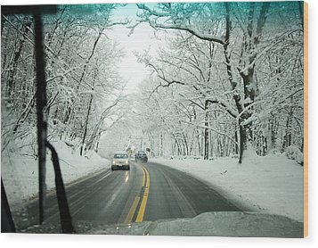 View From Inside A Car, Driving Wood Print by Tim Laman