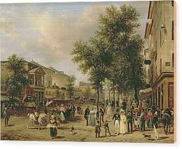 View Of Boulevard Montmartre Wood Print by Guiseppe Canella