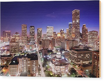 View Of Cityscape Wood Print by jld3 Photography