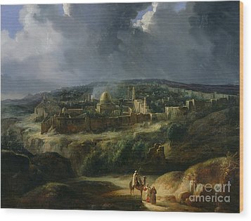 View Of Jerusalem From The Valley Of Jehoshaphat Wood Print by Auguste Forbin