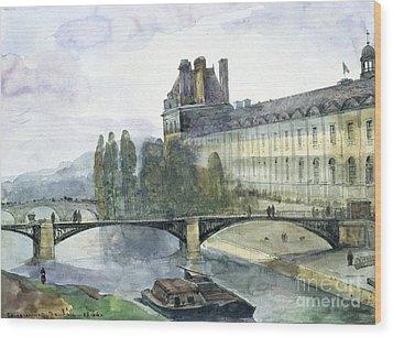 View Of The Pavillon De Flore Of The Louvre Wood Print by Francois-Marius Granet