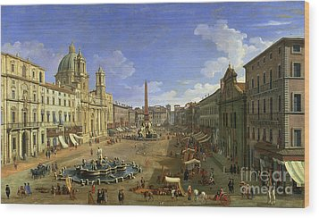 View Of The Piazza Navona Wood Print by Canaletto