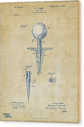 Vintage 1899 Golf Tee Patent Artwork Wood Print by Nikki Marie Smith