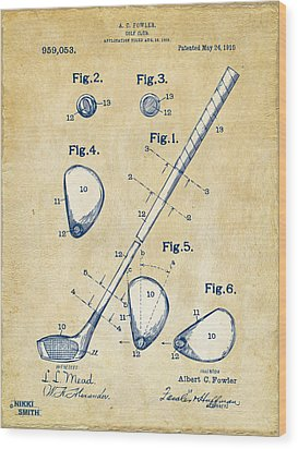 Vintage 1910 Golf Club Patent Artwork Wood Print by Nikki Marie Smith