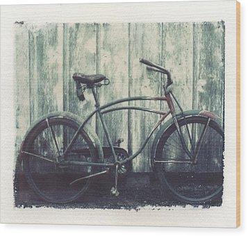 Vintage Bike Polaroid Transfer Wood Print by Jane Linders