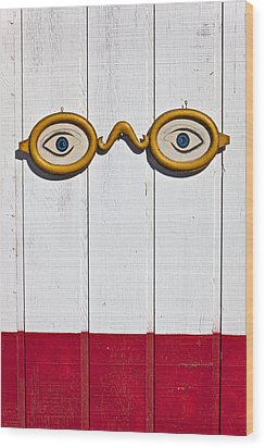 Vintage Eye Sign On Wooden Wall Wood Print by Garry Gay