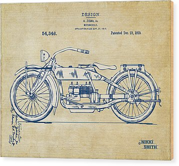 Vintage Harley-davidson Motorcycle 1919 Patent Artwork Wood Print by Nikki Smith