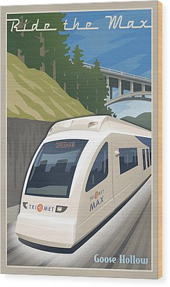 Vintage Max Light Rail Travel Poster Wood Print by Mitch Frey