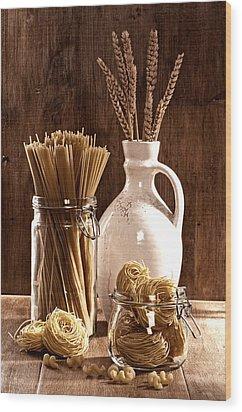 Vintage Pasta  Wood Print by Amanda Elwell