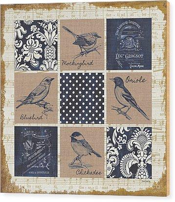 Vintage Songbird Patch 2 Wood Print by Debbie DeWitt