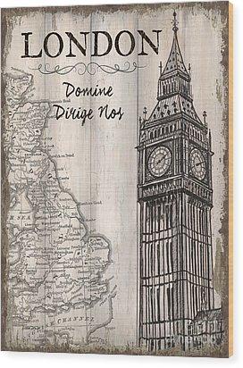 Vintage Travel Poster London Wood Print by Debbie DeWitt