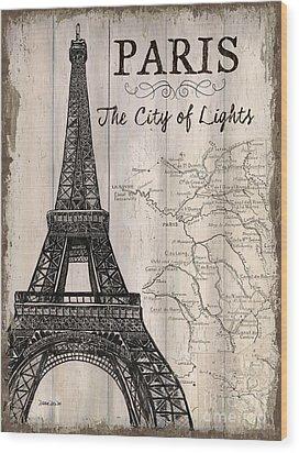 Vintage Travel Poster Paris Wood Print by Debbie DeWitt