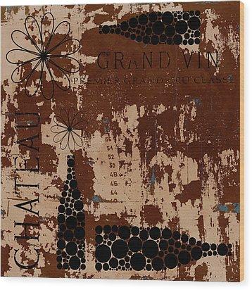 Vintage Wine Wood Print by Frank Tschakert