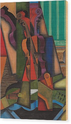 Violin And Guitar Wood Print by Juan Gris
