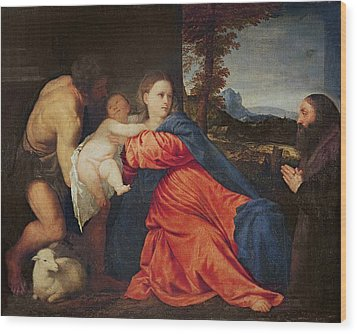 Virgin And Infant With Saint John The Baptist And Donor Wood Print by Titian