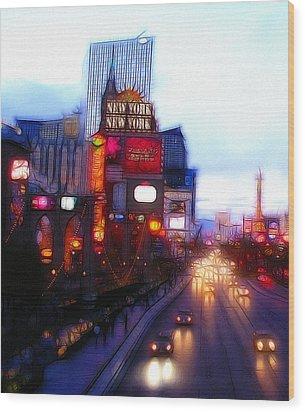 Viva Las Vegas Painting Wood Print by Steve K
