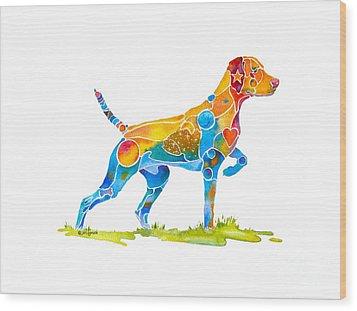 Vizsla On Point Wood Print by Jo Lynch