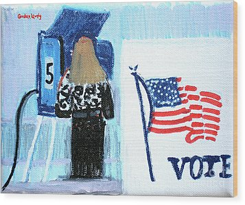 Voting Booth 2008 Wood Print by Candace Lovely