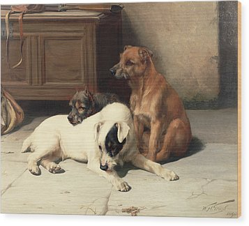 Waiting For Master Wood Print by William Henry Hamilton Trood