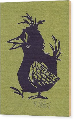 Walking Bird With Green Background Wood Print by Barry Nelles Art