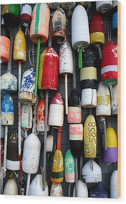 Wall Of Buoys Wood Print by Doug Hockman Photography