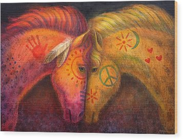 War Horse And Peace Horse Wood Print by Sue Halstenberg