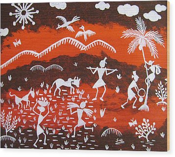 Warli Village Scene Wood Print by Sowjanya Sreeram