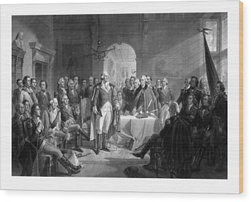 Washington Meeting His Generals Wood Print by War Is Hell Store