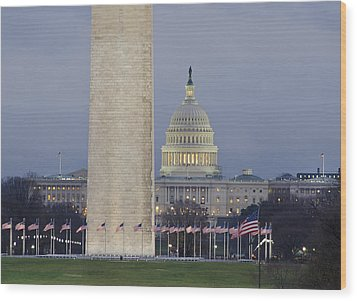 Washington Monument And United States Capitol Buildings - Washington Dc Wood Print by Brendan Reals