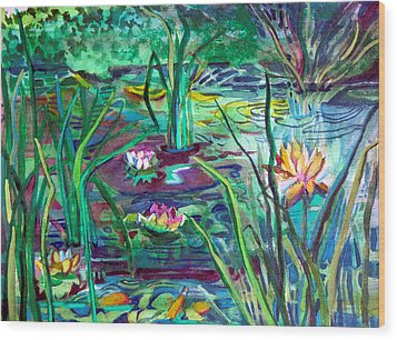 Water Lily Pond Wood Print by Mindy Newman