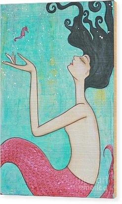 Water Nymph Wood Print by Natalie Briney