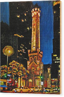 Water Tower At Night Wood Print by Michael Durst