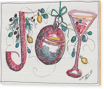 Watercolor Christmas Notecard Wood Print by Michele Hollister - for Nancy Asbell