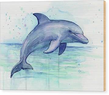 Watercolor Dolphin Painting - Facing Right Wood Print by Olga Shvartsur