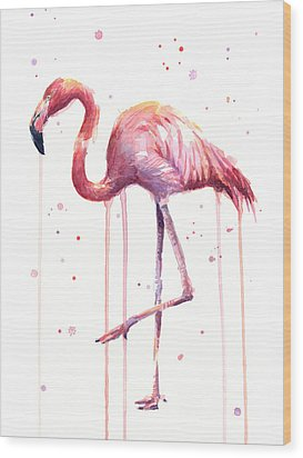 Watercolor Flamingo Wood Print by Olga Shvartsur