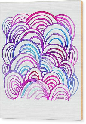 Watercolor Scallops In Pink And Blue Wood Print by Gillham Studios